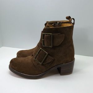 Frye Sabrina Brown Double Buckle Suede Moto Boots